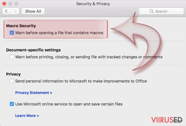 Kuidas keelata makrod Windows ja Mac OS X operatsioonisüsteemides? hetktõmmis