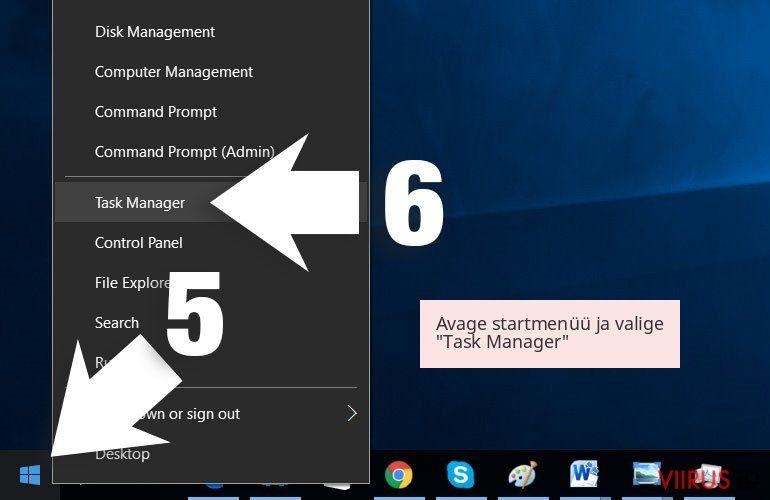 Avage startmenüü ja valige 'Task Manager'
