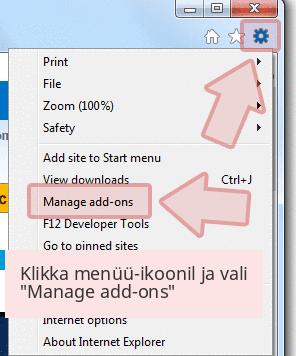 Klikka menüü-ikoonil ja vali 'Manage add-ons'