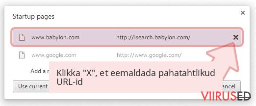 Klikka 'X', et eemaldada pahatahtlikud URL-id