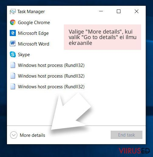 Valige 'More details', kui valik 'Go to details' ei ilmu ekraanile
