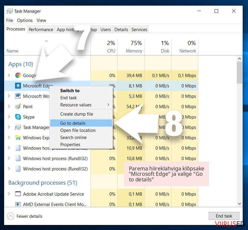 Parema hiireklahviga klõpsake 'Microsoft Edge' ja valige 'Go to details'