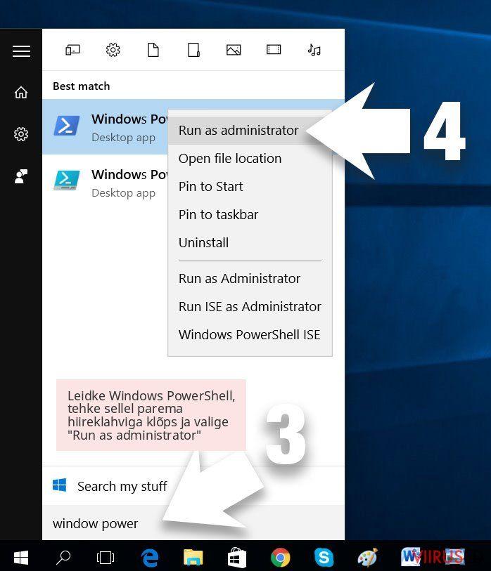 Leidke Windows PowerShell, tehke sellel parema hiireklahviga klõps ja valige 'Run as administrator'