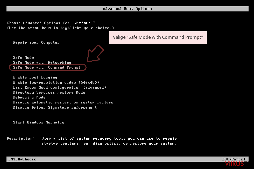 Valige 'Safe Mode with Command Prompt'