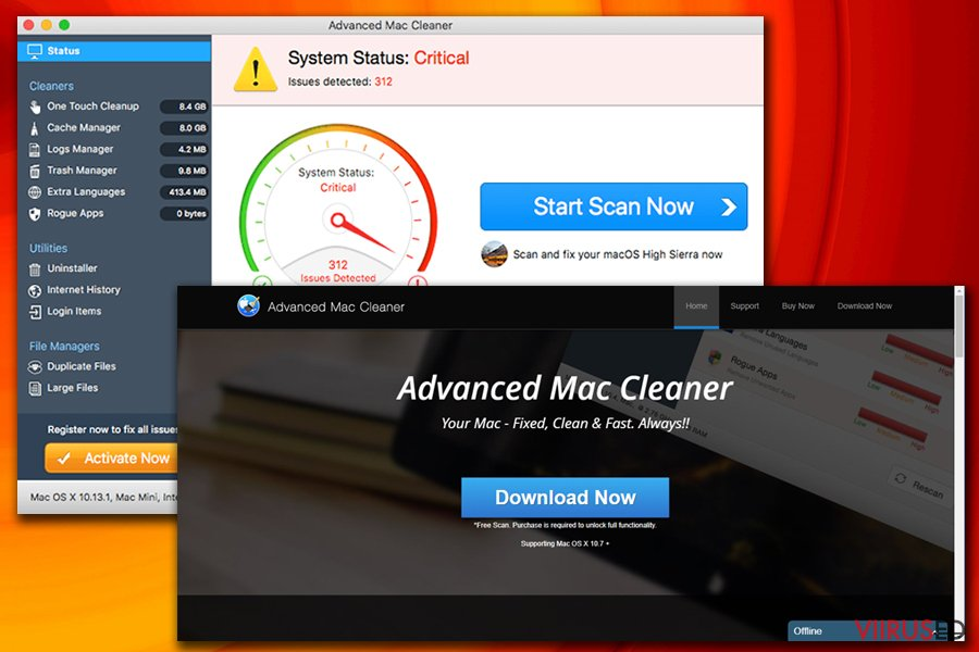 Advanced Mac Cleaner viirus hetktõmmis