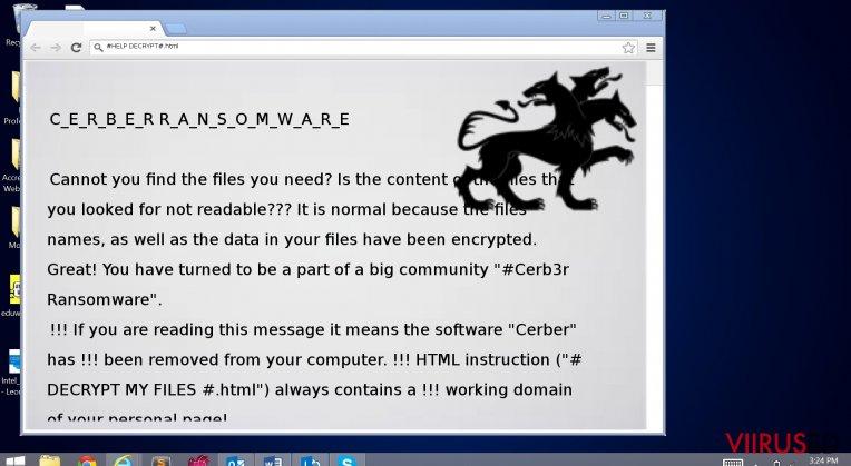 The note left by Cerber 3.0 virus