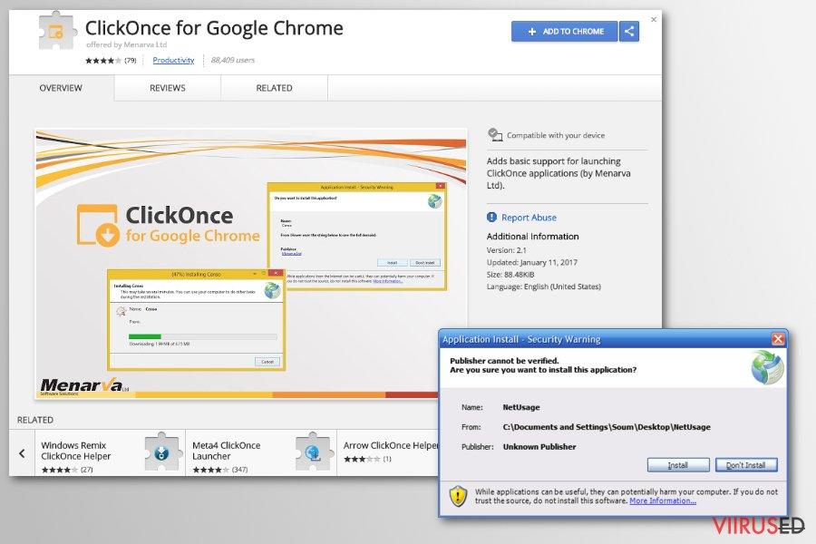 Chrome ümbersuunamisviirus hetktõmmis