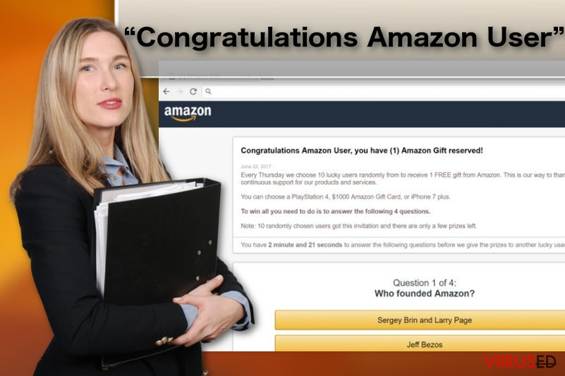 """""""Congratulations Amazon User"""" reklaamvara näide"""