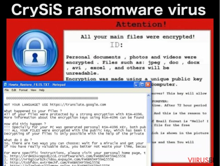 An image of CrySiS ransomware virus ransom note