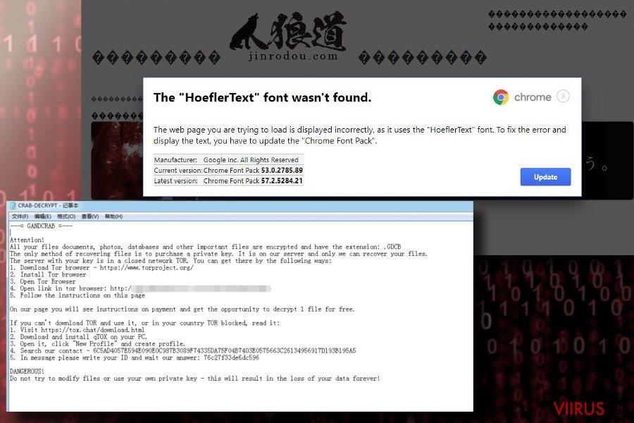 GandCrab levib võltsi Hoefler tekstifondi uuenduse kaudu