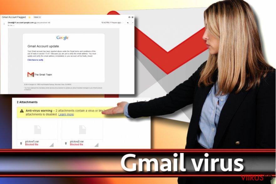 Gmail viiruse ekraanitõmmis