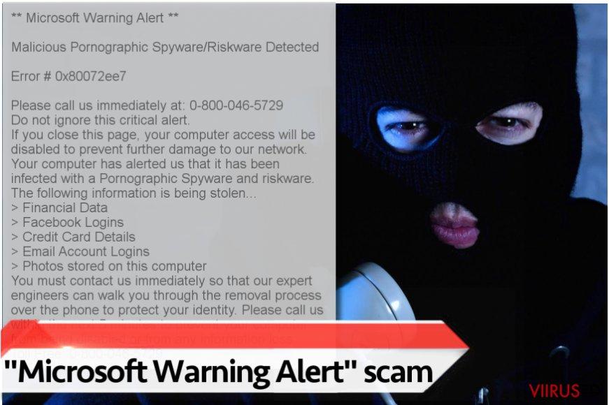 """Microsoft Warning Alert"" viiruse illustratsioon"
