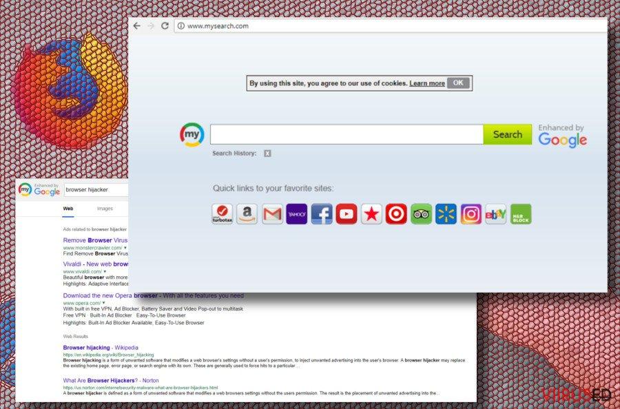 Mysearch brauserikaaperdaja ekraanitõmmis