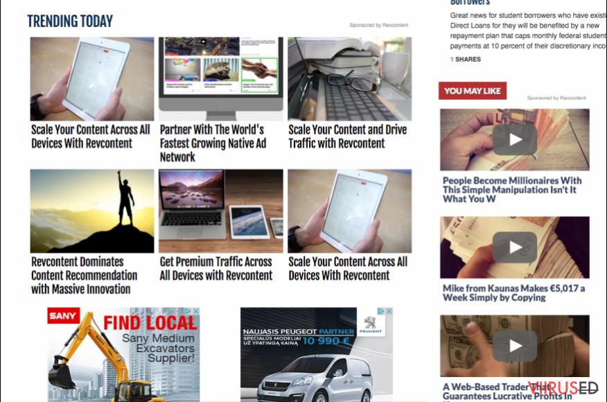 RevContent reklaamid kolmanda poole veebilehel
