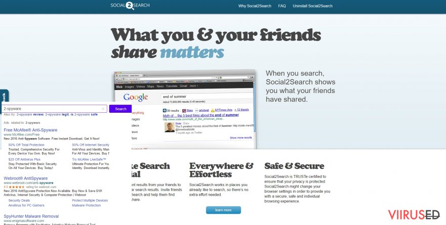 The example of Social2Search ads