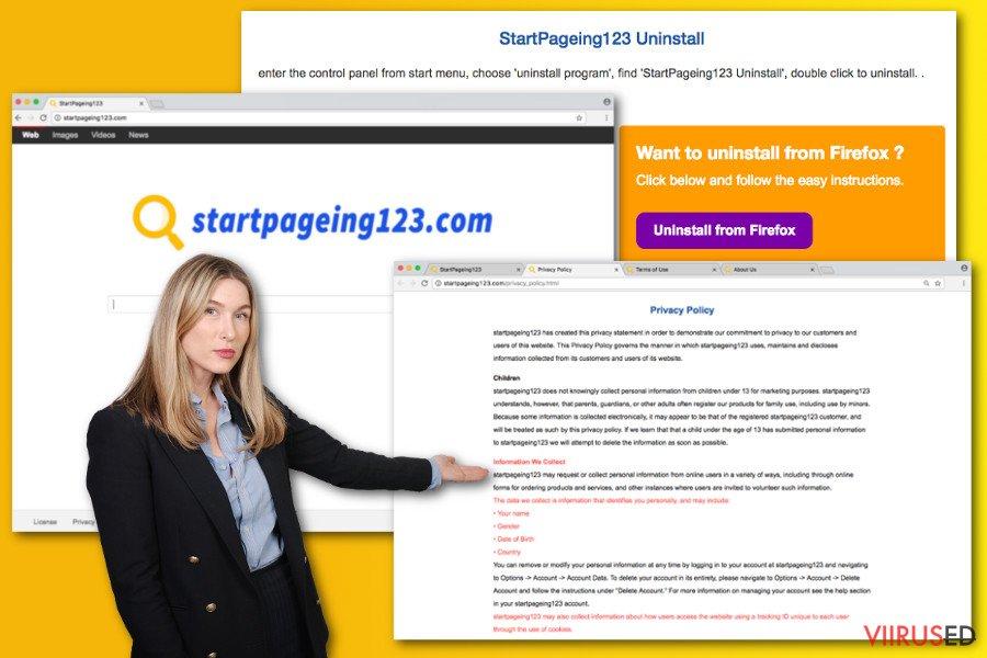 StartPageing123.com viiruse näide