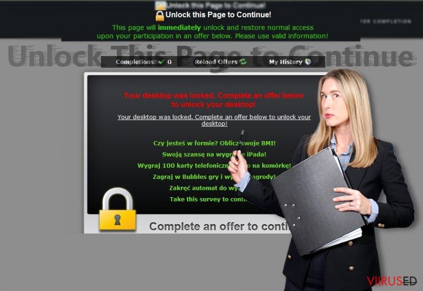 """Pilt näitab """"Unlock This Page to Continue"""" teavitusi"""