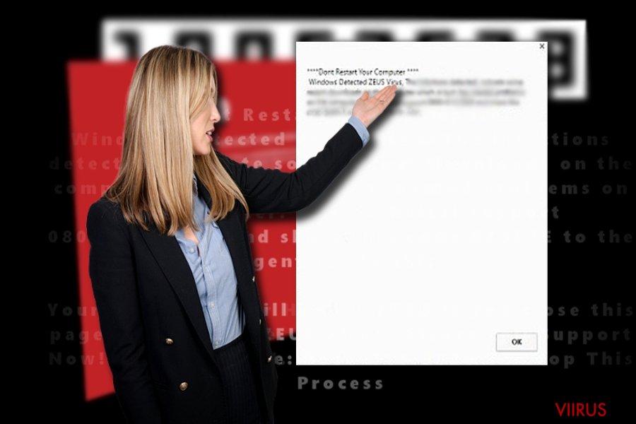 """Ekraanitõmmis """"Windows Detected ZEUS Virus"""" pettusest"""
